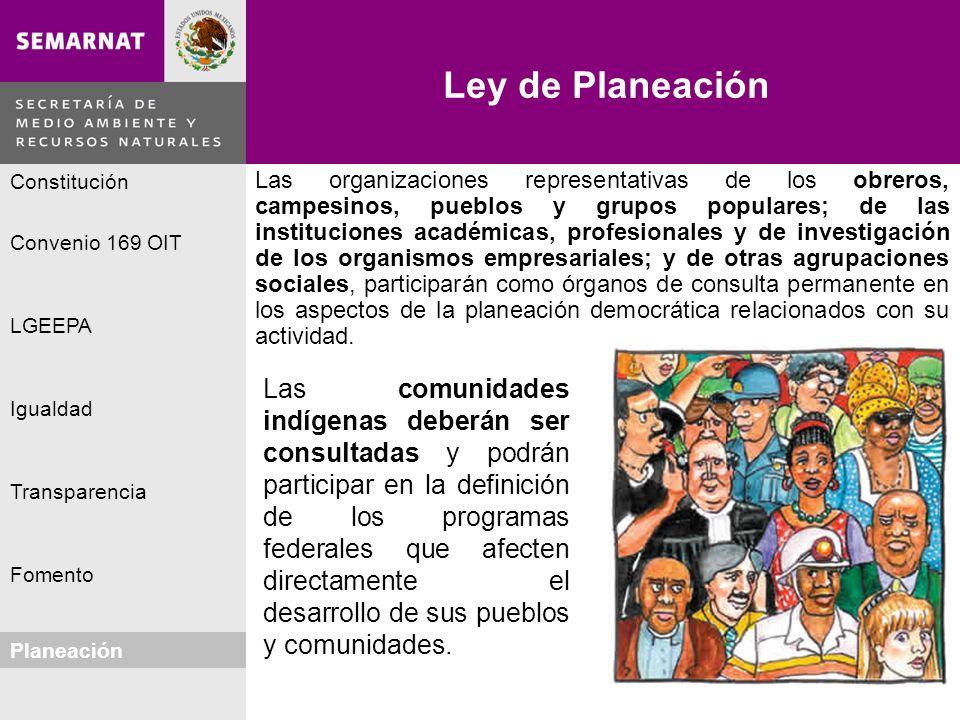 Planeación Igualdad Fomento LGEEPA Constitución Convenio 169 OIT Transparencia Ley de Planeación Planeación Lo malo Las organizaciones representativas