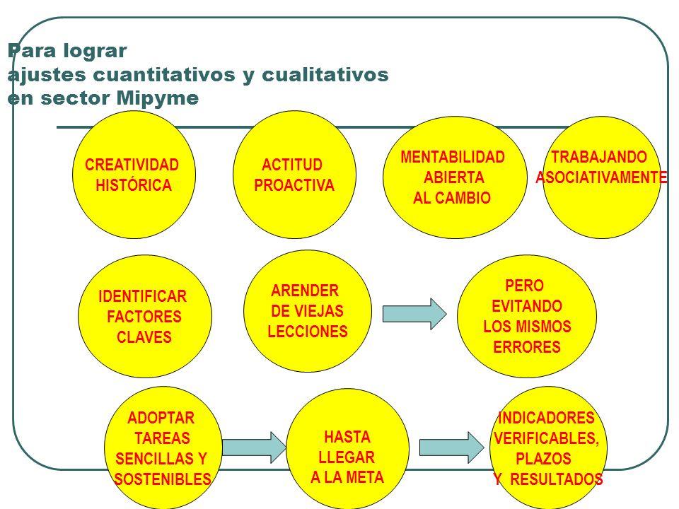 Para lograr ajustes cuantitativos y cualitativos en sector Mipyme CREATIVIDAD HISTÓRICA ACTITUD PROACTIVA MENTABILIDAD ABIERTA AL CAMBIO TRABAJANDO ASOCIATIVAMENTE IDENTIFICAR FACTORES CLAVES ARENDER DE VIEJAS LECCIONES PERO EVITANDO LOS MISMOS ERRORES ADOPTAR TAREAS SENCILLAS Y SOSTENIBLES HASTA LLEGAR A LA META INDICADORES VERIFICABLES, PLAZOS Y RESULTADOS