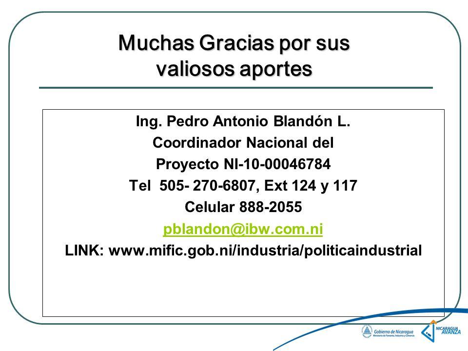Muchas Gracias por sus valiosos aportes Ing.Pedro Antonio Blandón L.