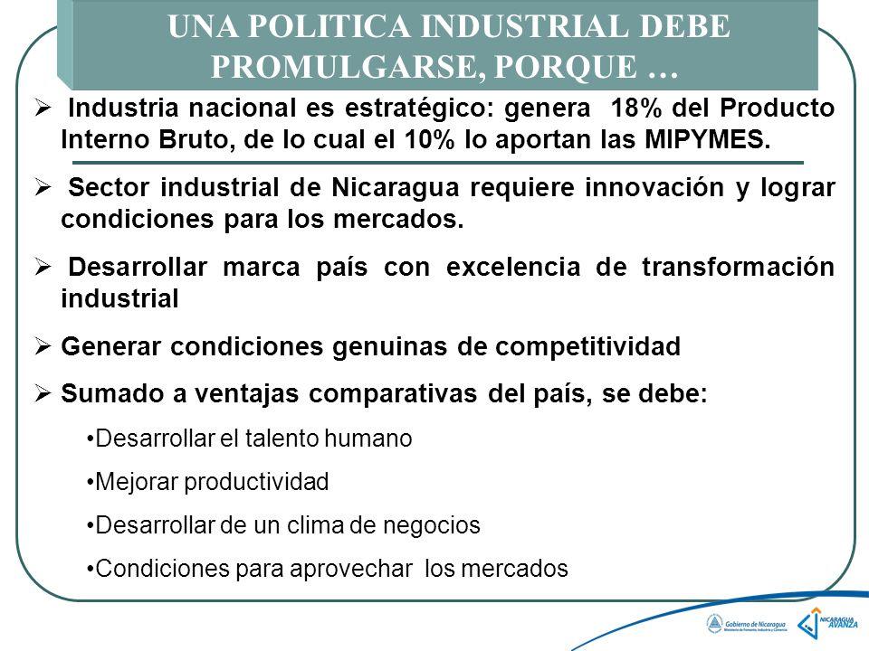 UNA POLITICA INDUSTRIAL DEBE PROMULGARSE, PORQUE … Industria nacional es estratégico: genera 18% del Producto Interno Bruto, de lo cual el 10% lo aportan las MIPYMES.
