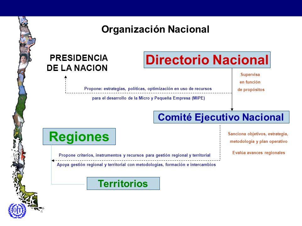 Organización Nacional Comité Ejecutivo Nacional Directorio Nacional Regiones Territorios para el desarrollo de la Micro y Pequeña Empresa (MIPE) Super