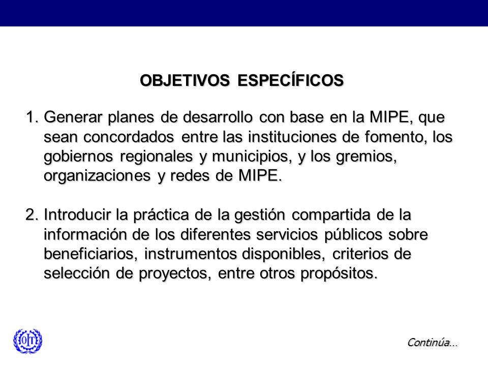 OBJETIVOS ESPECÍFICOS 1.Generar planes de desarrollo con base en la MIPE, que sean concordados entre las instituciones de fomento, los gobiernos regio