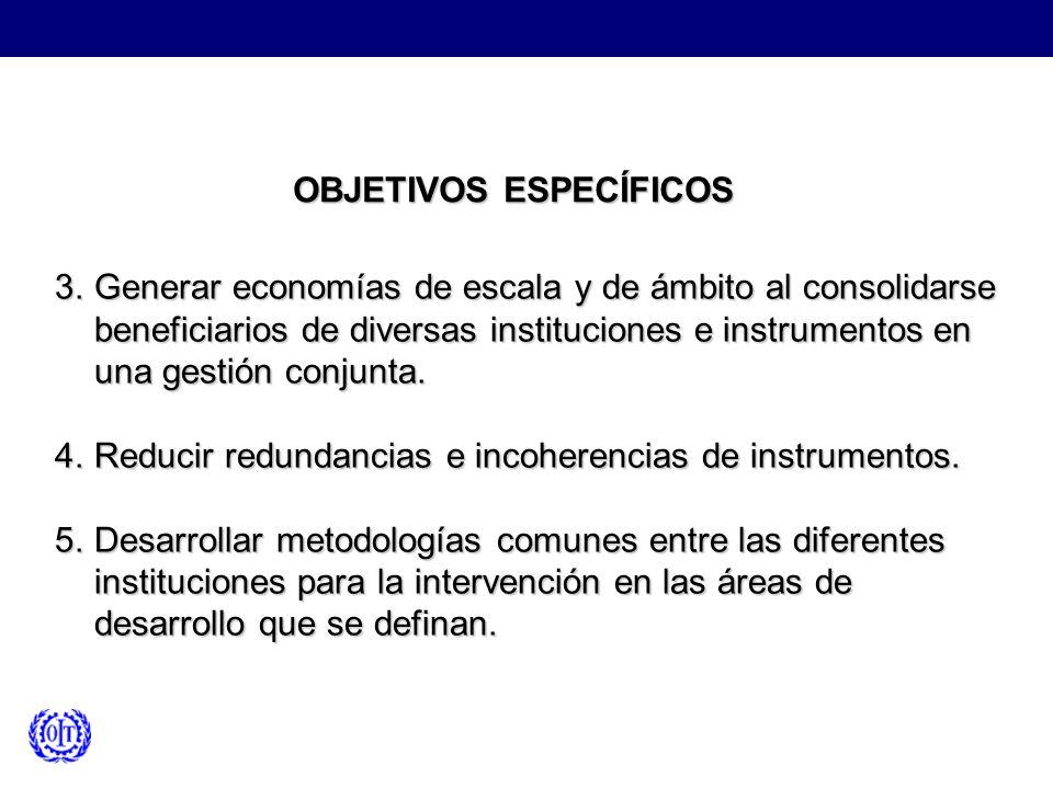 OBJETIVOS ESPECÍFICOS 3.Generar economías de escala y de ámbito al consolidarse beneficiarios de diversas instituciones e instrumentos en una gestión