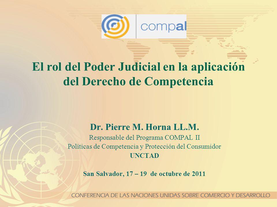 2 Agenda 1.Mandato de la UNCTAD en el tema de la Política de Competencia a nivel internacional 2.Panorama general sobre la aplicación de la ley de competencia a nivel judicial