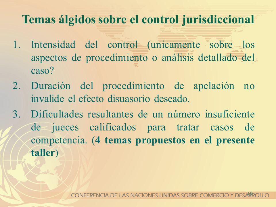 10 Temas álgidos sobre el control jurisdiccional 1.Intensidad del control (unicamente sobre los aspectos de procedimiento o análisis detallado del caso.