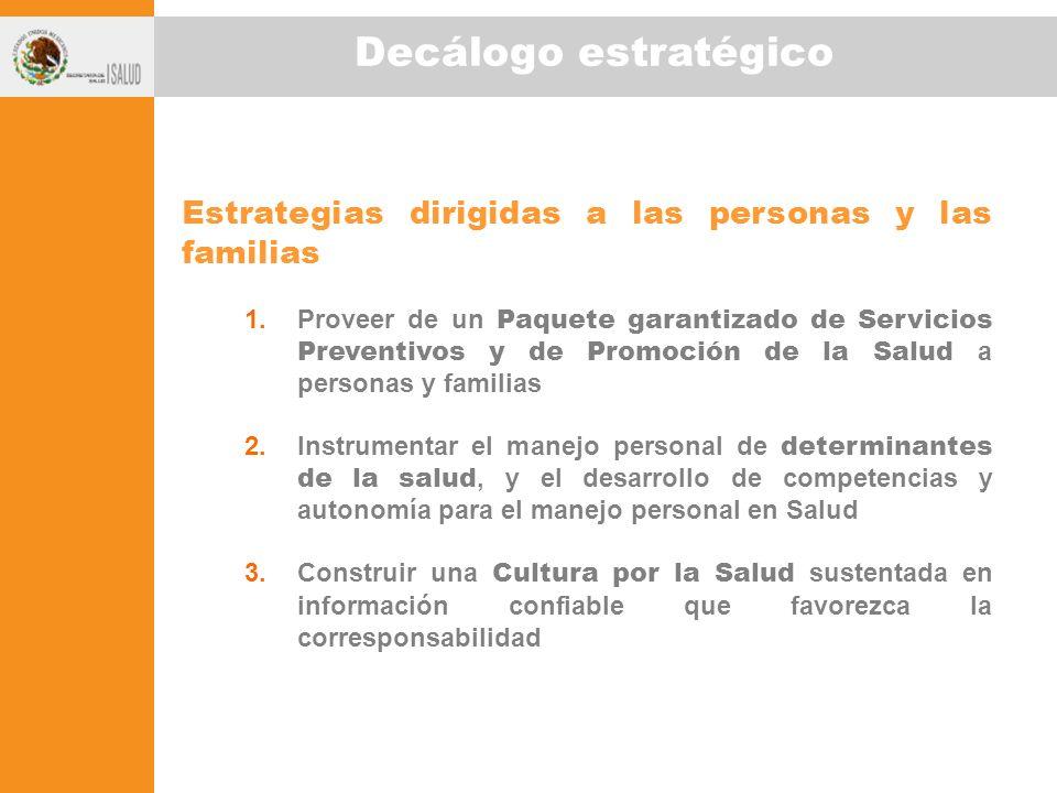 Decálogo estratégico Estrategias dirigidas a las personas y las familias 1.Proveer de un Paquete garantizado de Servicios Preventivos y de Promoción d