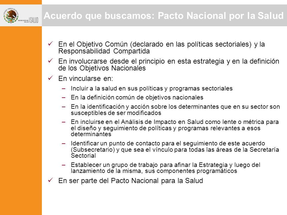 Acuerdo que buscamos: Pacto Nacional por la Salud En el Objetivo Común (declarado en las políticas sectoriales) y la Responsabilidad Compartida En inv