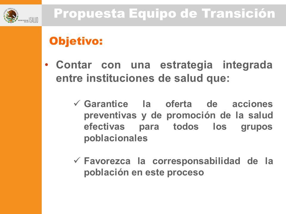 Objetivo: Contar con una estrategia integrada entre instituciones de salud que: Garantice la oferta de acciones preventivas y de promoción de la salud