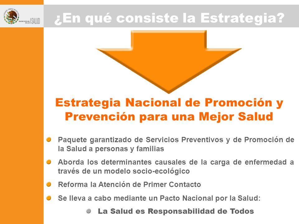Paquete garantizado de Servicios Preventivos y de Promoción de la Salud a personas y familias Aborda los determinantes causales de la carga de enferme