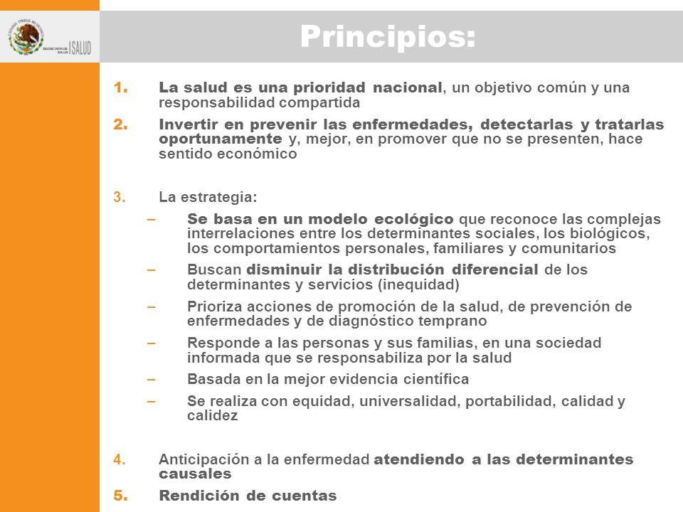 Principios: 1.La salud es una prioridad nacional, un objetivo común y una responsabilidad compartida 2.Invertir en prevenir las enfermedades, detectar