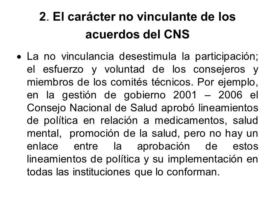 2. El carácter no vinculante de los acuerdos del CNS La no vinculancia desestimula la participación; el esfuerzo y voluntad de los consejeros y miembr