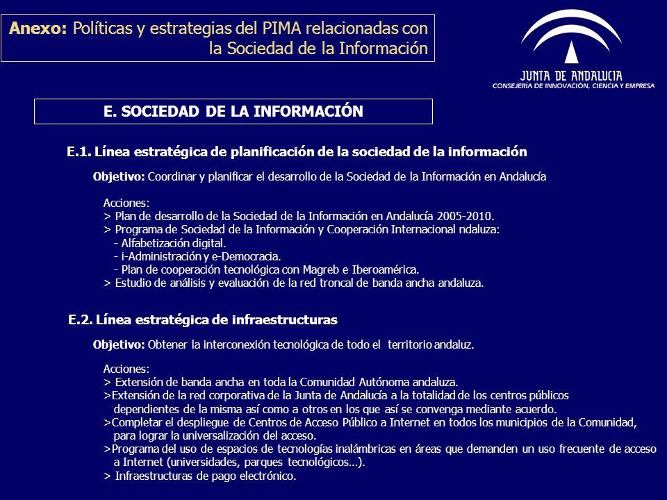 Anexo: Políticas y estrategias del PIMA relacionadas con la Sociedad de la Información E. SOCIEDAD DE LA INFORMACIÓN E.1. Línea estratégica de planifi