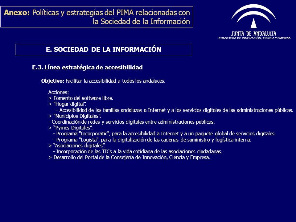 Anexo: Políticas y estrategias del PIMA relacionadas con la Sociedad de la Información E.3. Línea estratégica de accesibilidad E. SOCIEDAD DE LA INFOR