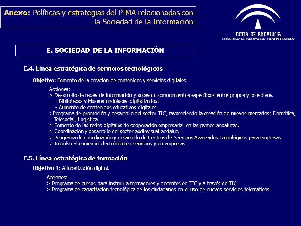 E.4. Línea estratégica de servicios tecnológicos Objetivo: Fomento de la creación de contenidos y servicios digitales. Anexo: Políticas y estrategias