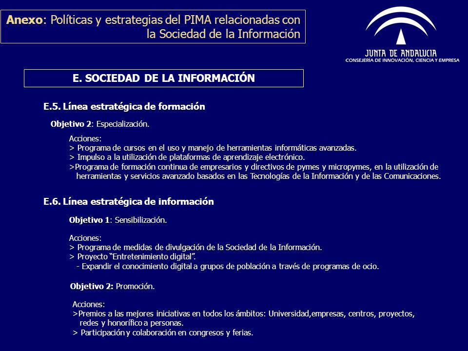 Anexo: Políticas y estrategias del PIMA relacionadas con la Sociedad de la Información E. SOCIEDAD DE LA INFORMACIÓN Objetivo 2: Especialización. E.5.