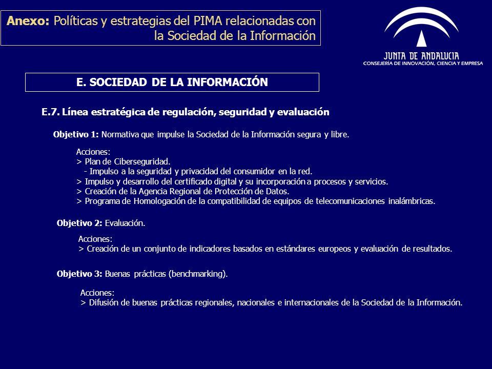 Anexo: Políticas y estrategias del PIMA relacionadas con la Sociedad de la Información E. SOCIEDAD DE LA INFORMACIÓN E.7. Línea estratégica de regulac