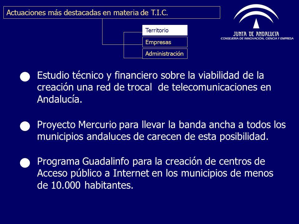 Estudio técnico y financiero sobre la viabilidad de la creación una red de trocal de telecomunicaciones en Andalucía. Proyecto Mercurio para llevar la