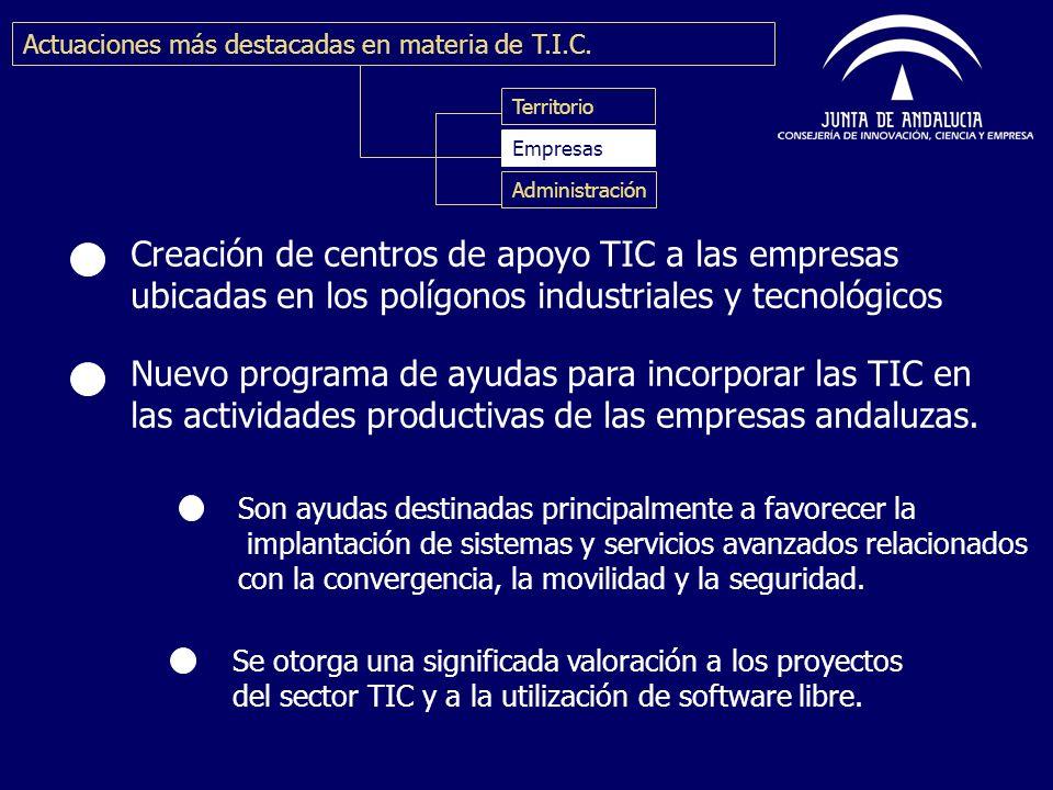 Creación de centros de apoyo TIC a las empresas ubicadas en los polígonos industriales y tecnológicos Nuevo programa de ayudas para incorporar las TIC