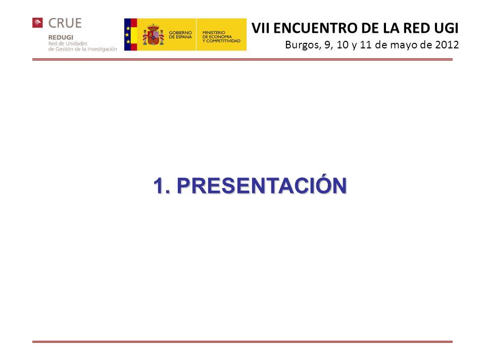 1. PRESENTACIÓN VII ENCUENTRO DE LA RED UGI Burgos, 9, 10 y 11 de mayo de 2012