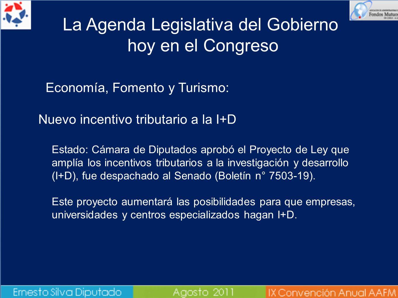 Economía, Fomento y Turismo: Nuevo incentivo tributario a la I+D Estado: Cámara de Diputados aprobó el Proyecto de Ley que amplía los incentivos tributarios a la investigación y desarrollo (I+D), fue despachado al Senado (Boletín n° 7503-19).