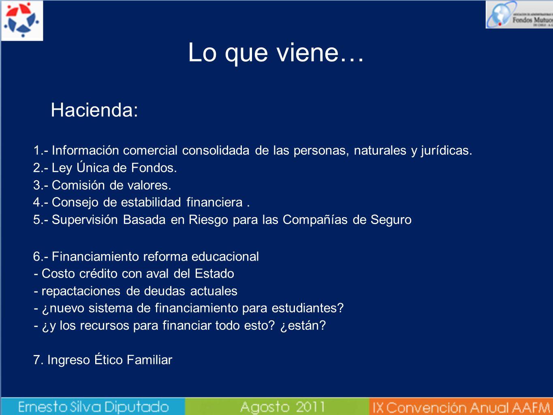 Lo que viene… Hacienda: 1.- Información comercial consolidada de las personas, naturales y jurídicas. 2.- Ley Única de Fondos. 3.- Comisión de valores