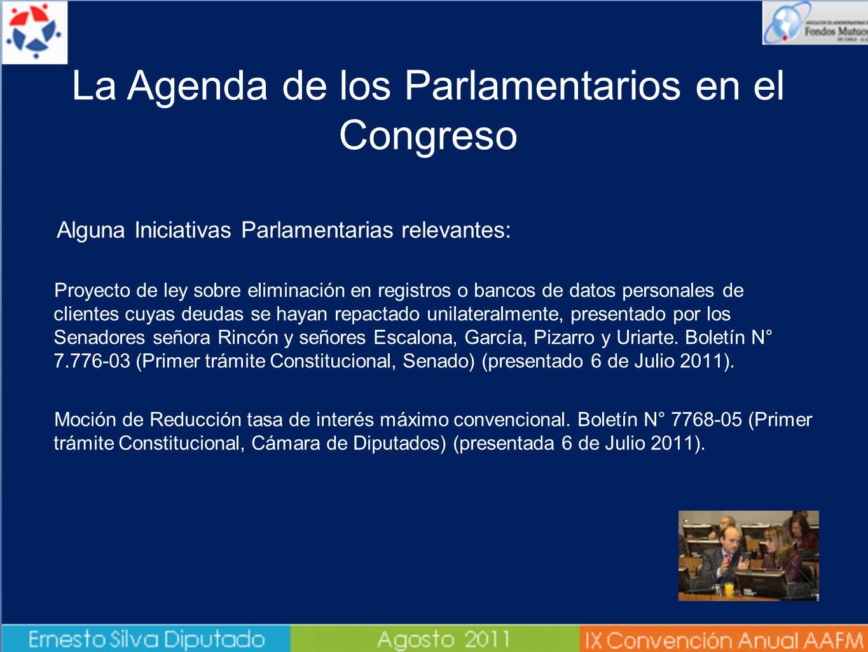 Alguna Iniciativas Parlamentarias relevantes: - Proyecto de ley sobre eliminación en registros o bancos de datos personales de clientes cuyas deudas s