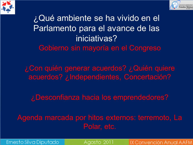 ¿Qué ambiente se ha vivido en el Parlamento para el avance de las iniciativas? Gobierno sin mayoría en el Congreso ¿Con quién generar acuerdos? ¿Quién