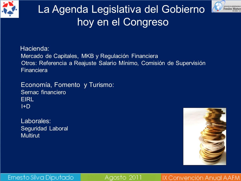 La Agenda Legislativa del Gobierno hoy en el Congreso à Hacienda: Mercado de Capitales, MKB y Regulación Financiera Otros: Referencia a Reajuste Salar