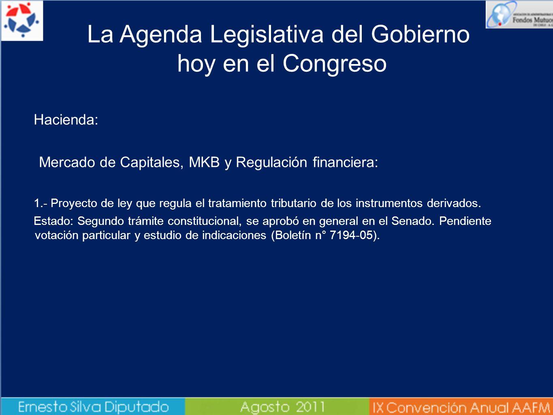 Hacienda: Mercado de Capitales, MKB y Regulación financiera: 1.- Proyecto de ley que regula el tratamiento tributario de los instrumentos derivados. E