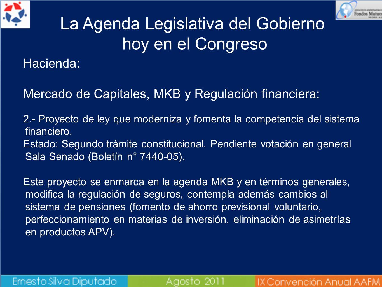 Hacienda: Mercado de Capitales, MKB y Regulación financiera: 2.- Proyecto de ley que moderniza y fomenta la competencia del sistema financiero. Estado