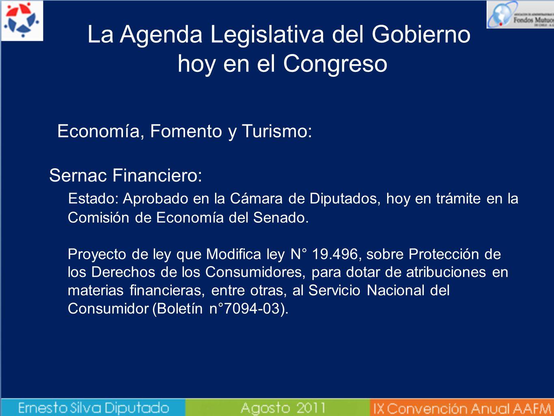 Economía, Fomento y Turismo: Sernac Financiero: Estado: Aprobado en la Cámara de Diputados, hoy en trámite en la Comisión de Economía del Senado. Proy