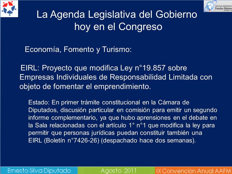 Economía, Fomento y Turismo: EIRL: Proyecto que modifica Ley n°19.857 sobre Empresas Individuales de Responsabilidad Limitada con objeto de fomentar e