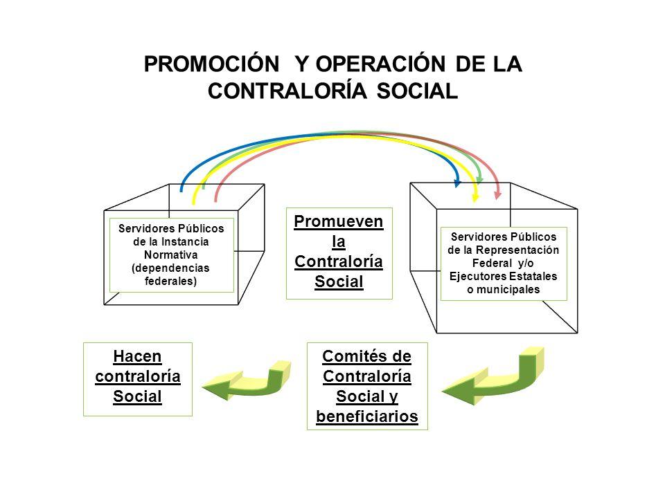 Hacen contraloría Social Promueven la Contraloría Social Servidores Públicos de la Instancia Normativa (dependencias federales) Servidores Públicos de