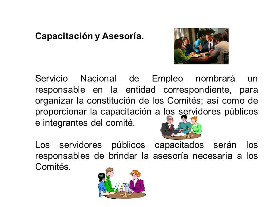 Capacitación y Asesoría. Servicio Nacional de Empleo nombrará un responsable en la entidad correspondiente, para organizar la constitución de los Comi