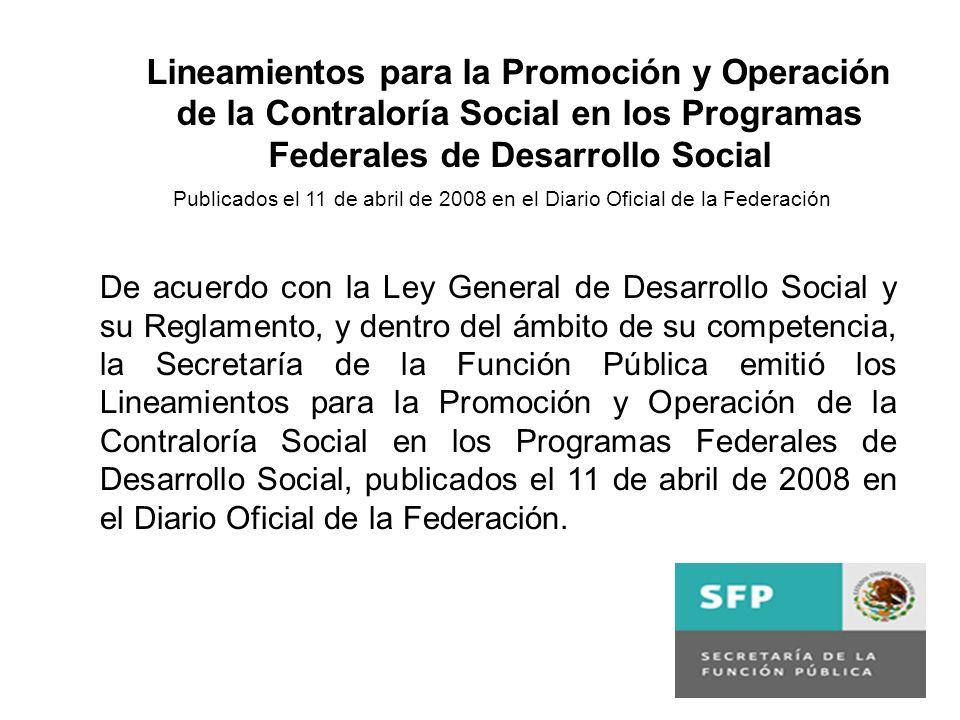 De acuerdo con la Ley General de Desarrollo Social y su Reglamento, y dentro del ámbito de su competencia, la Secretaría de la Función Pública emitió