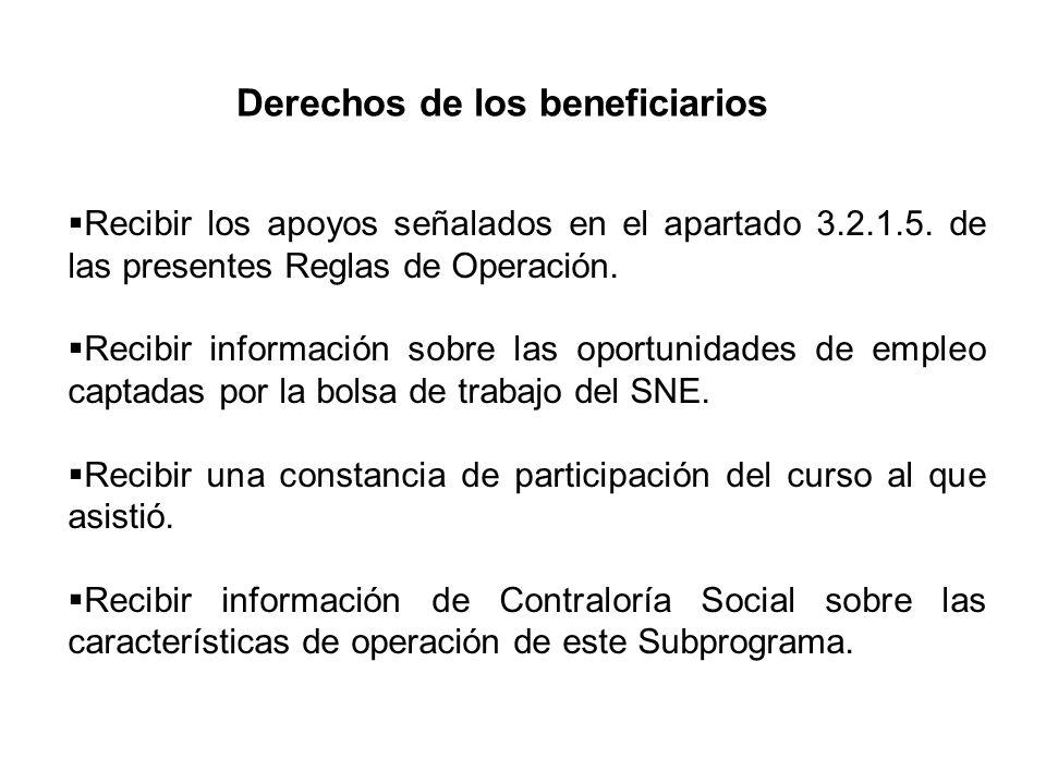 Derechos de los beneficiarios Recibir los apoyos señalados en el apartado 3.2.1.5. de las presentes Reglas de Operación. Recibir información sobre las