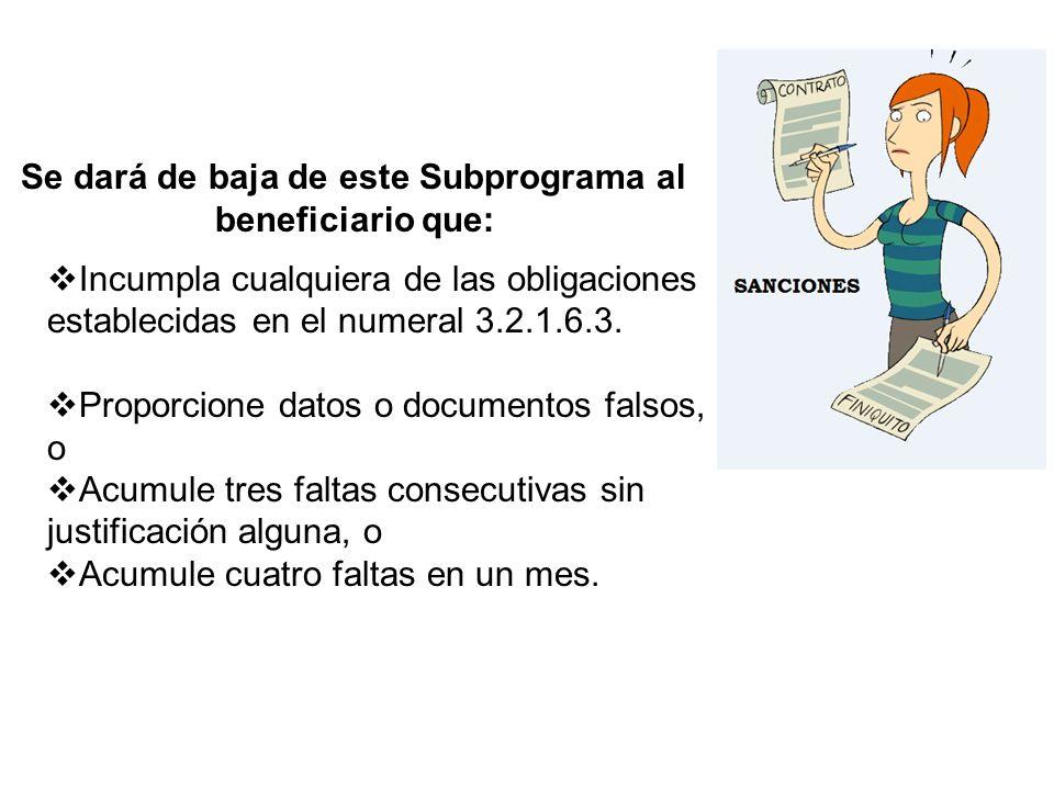 Se dará de baja de este Subprograma al beneficiario que: Incumpla cualquiera de las obligaciones establecidas en el numeral 3.2.1.6.3. Proporcione dat
