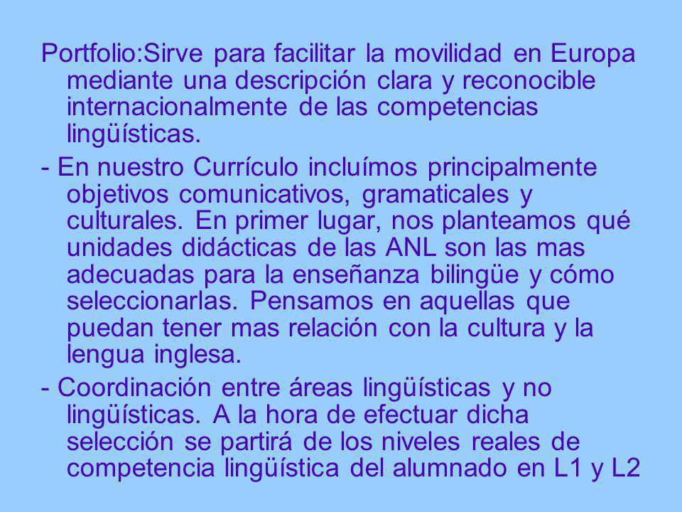 Portfolio:Sirve para facilitar la movilidad en Europa mediante una descripción clara y reconocible internacionalmente de las competencias lingüísticas