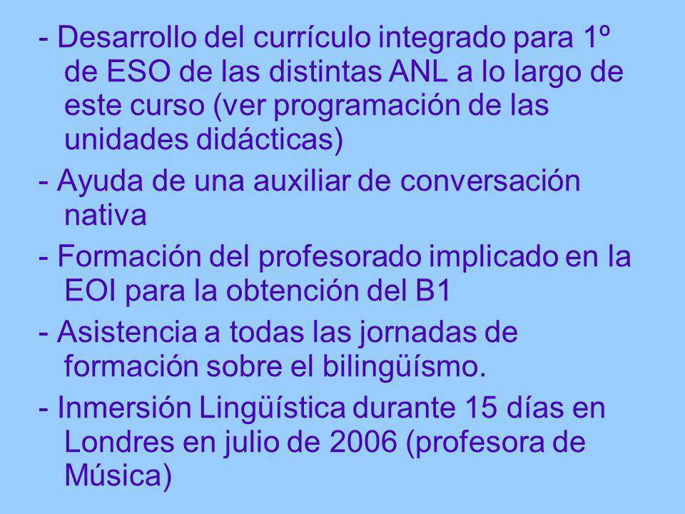 - Desarrollo del currículo integrado para 1º de ESO de las distintas ANL a lo largo de este curso (ver programación de las unidades didácticas) - Ayud