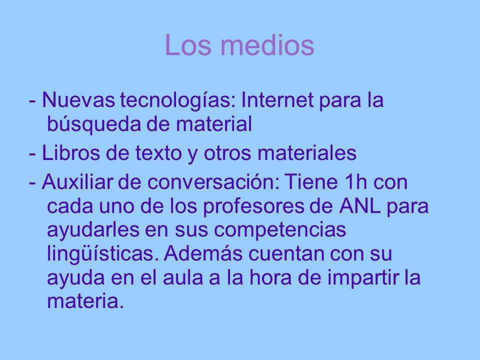Los medios - Nuevas tecnologías: Internet para la búsqueda de material - Libros de texto y otros materiales - Auxiliar de conversación: Tiene 1h con c