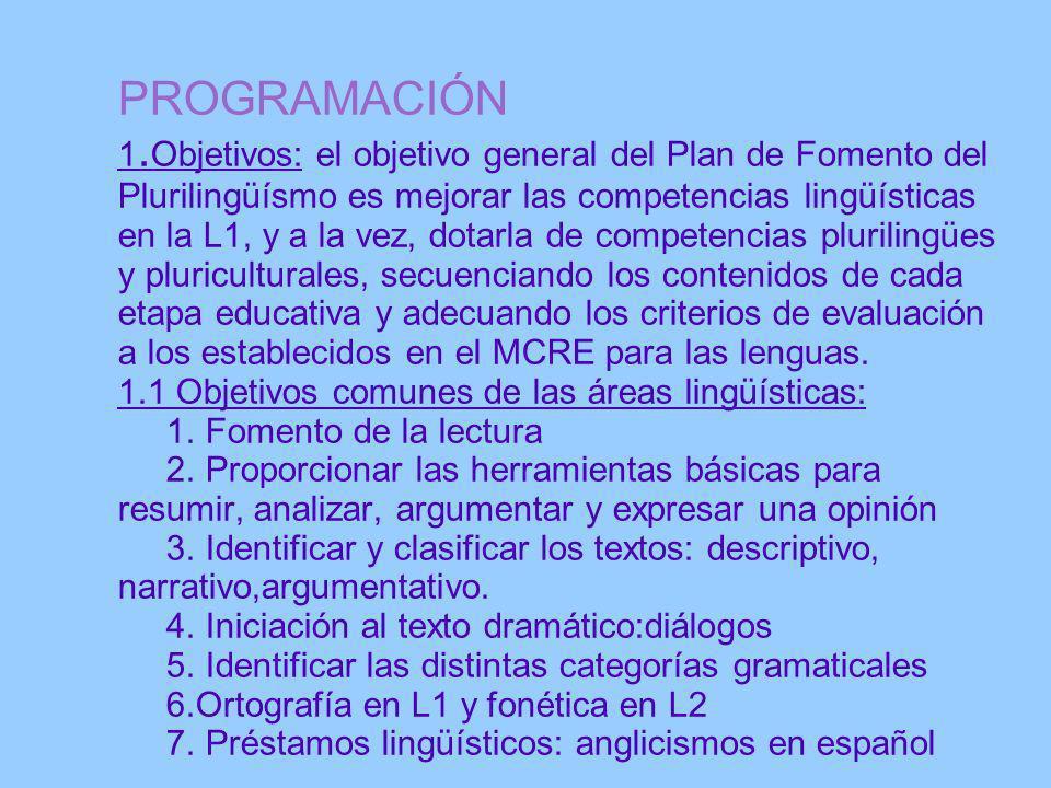 PROGRAMACIÓN 1. Objetivos: el objetivo general del Plan de Fomento del Plurilingüísmo es mejorar las competencias lingüísticas en la L1, y a la vez, d