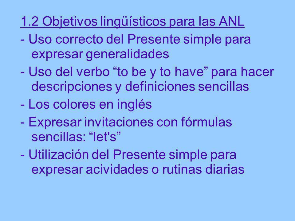 1.2 Objetivos lingüísticos para las ANL - Uso correcto del Presente simple para expresar generalidades - Uso del verbo to be y to have para hacer desc