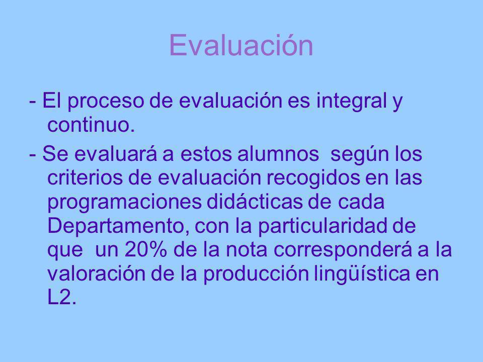 Evaluación - El proceso de evaluación es integral y continuo. - Se evaluará a estos alumnos según los criterios de evaluación recogidos en las program