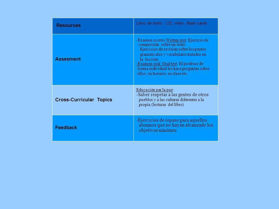 Resources Libro de texto, CD, video,flash cards Assesment -Examen escrito/Written test: Ejercicio de compresión sobre un texto Ejercicios de revisión