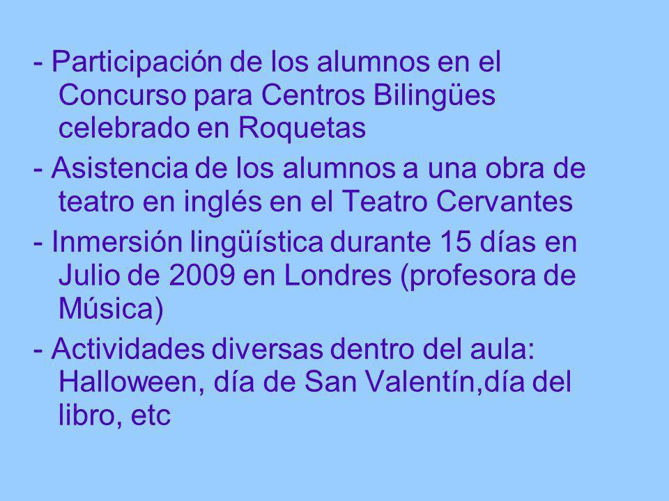 - Participación de los alumnos en el Concurso para Centros Bilingües celebrado en Roquetas - Asistencia de los alumnos a una obra de teatro en inglés