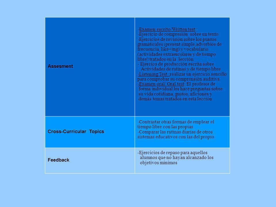 Assesment -Examen escrito/Written test: -Ejercicio de compresión sobre un texto -Ejercicios de revisión sobre los puntos gramaticales (present simple,