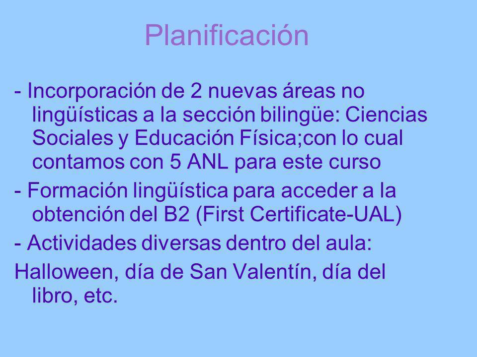 Planificación - Incorporación de 2 nuevas áreas no lingüísticas a la sección bilingüe: Ciencias Sociales y Educación Física;con lo cual contamos con 5