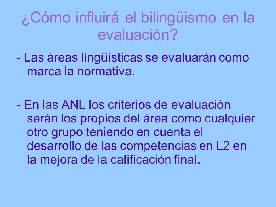 ¿Cómo influirá el bilingüismo en la evaluación? - Las áreas lingüísticas se evaluarán como marca la normativa. - En las ANL los criterios de evaluació