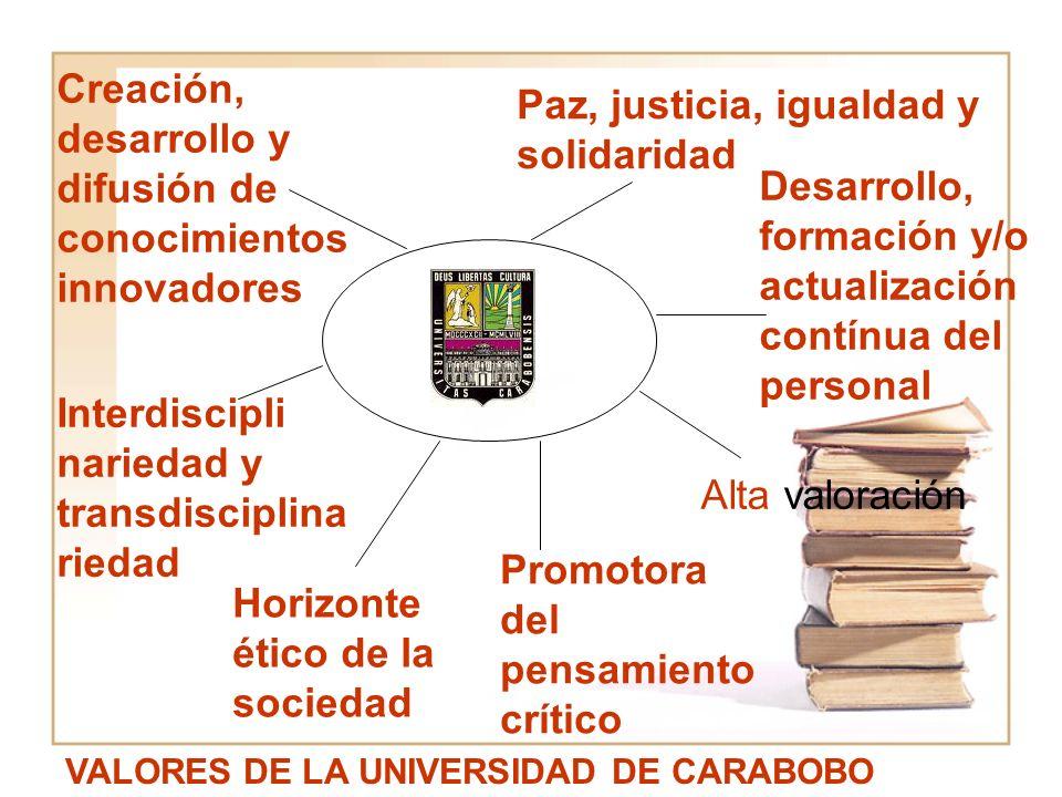 Paz, justicia, igualdad y solidaridad VALORES DE LA UNIVERSIDAD DE CARABOBO Desarrollo, formación y/o actualización contínua del personal Interdiscipl
