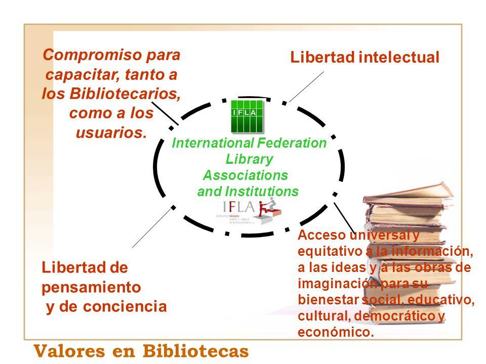 International Federation Library Associations and Institutions Compromiso para capacitar, tanto a los Bibliotecarios, como a los usuarios. Libertad in